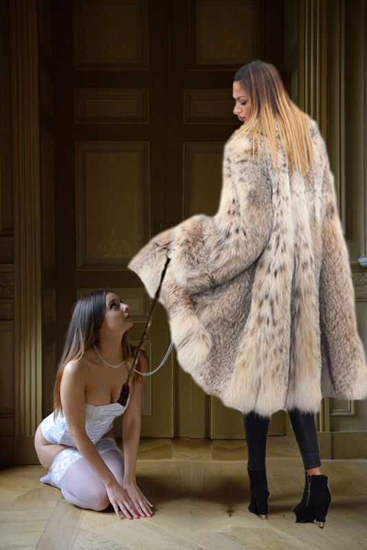 Fur coat slippery satin lining fetish