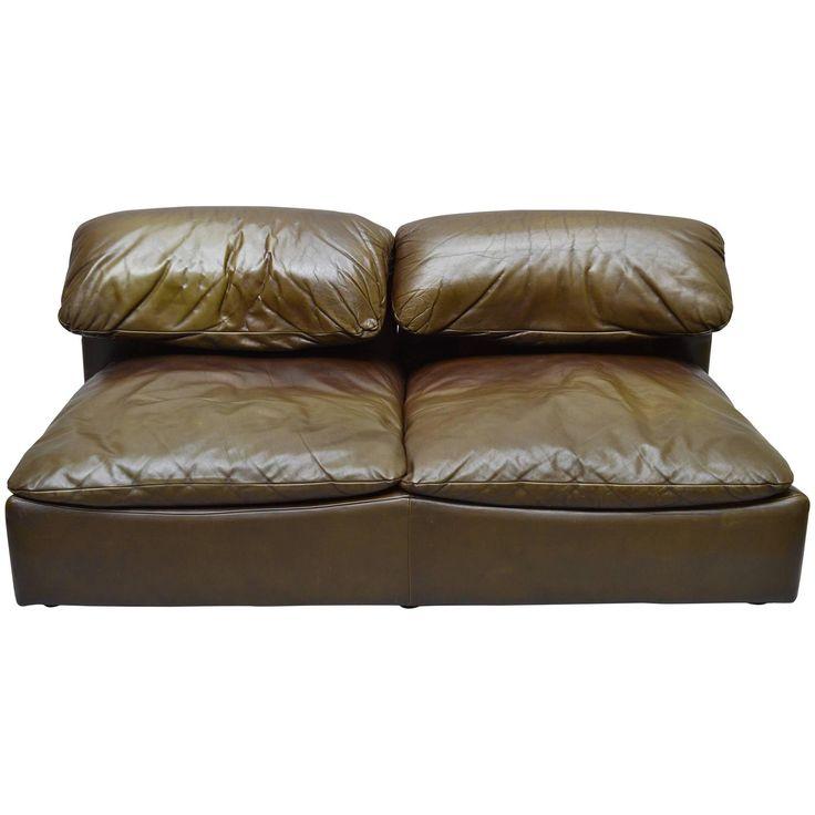 1970s roche bobois leather twoseat sofa modern