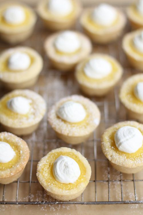 Sugar cookie lemon tarts.