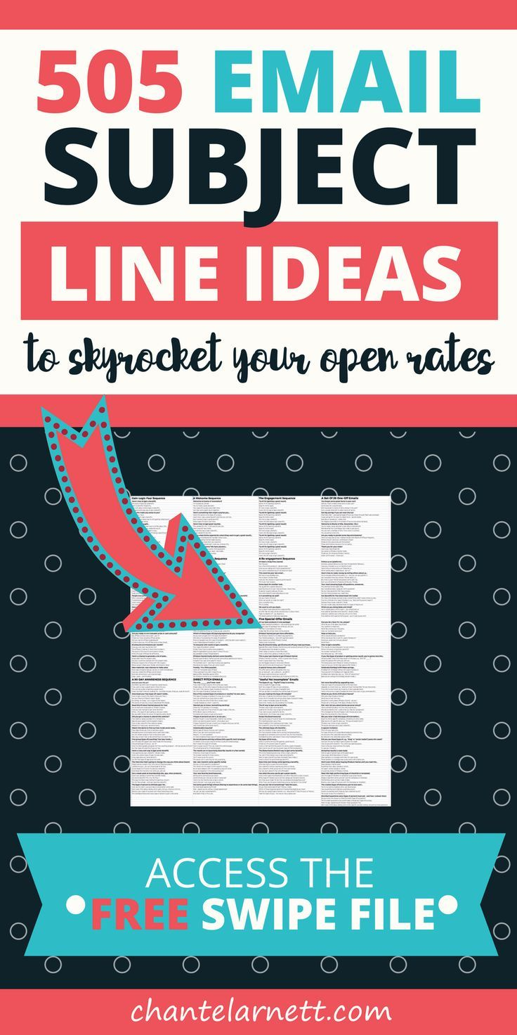 Swipe this list of email subject line ideas - the best email subject lines to get your emails opened and skyrocket your conversions. If you want to profit from email marketing, you need these email subject lines for 12 sequences + 26 one-off emails! #emailmarketing #blogging #template