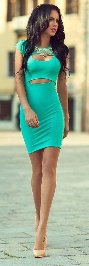 street style green bodycon dress @wachabuy