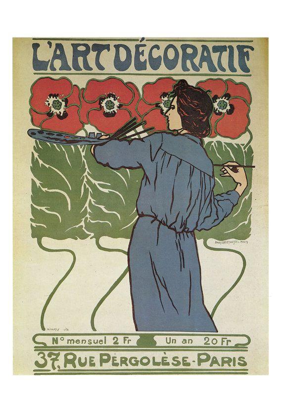 PARIS Art Nouveau Poster Art Decoratif Wall Art by NouveauGallery