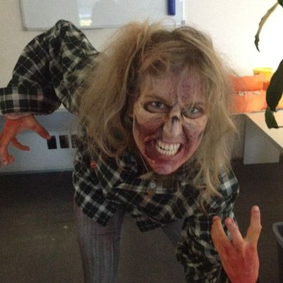 PikPok Concept Artist, Candice, was in town by 5 AM, to be made up as a zombie, then spent three hours creeping out the rush out commuters at the railway station to raise money for Child Cancer NZ! Then she came into work and terrified us all :)