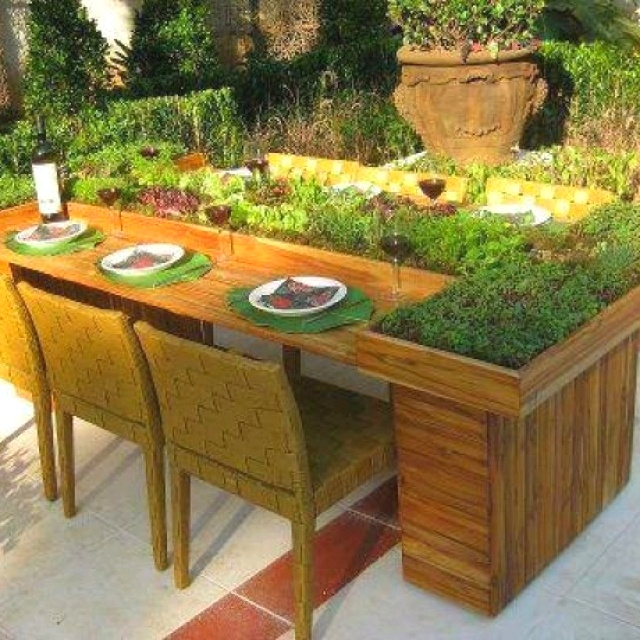 herb or salad garden table garden pinterest. Black Bedroom Furniture Sets. Home Design Ideas