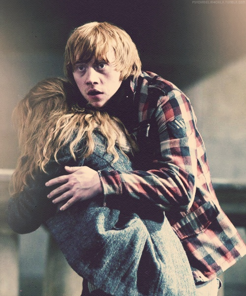Ron's love for Hermione... Harry's, too... they each protect each other with unconditional love and its the most amazing thing to portray in a world like today.