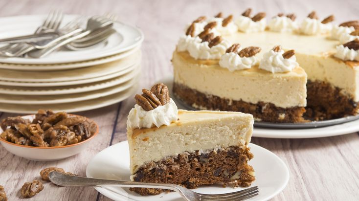 Carrot Cheesecake: Moist carrot cake is used as the base of luscious cheesecake.