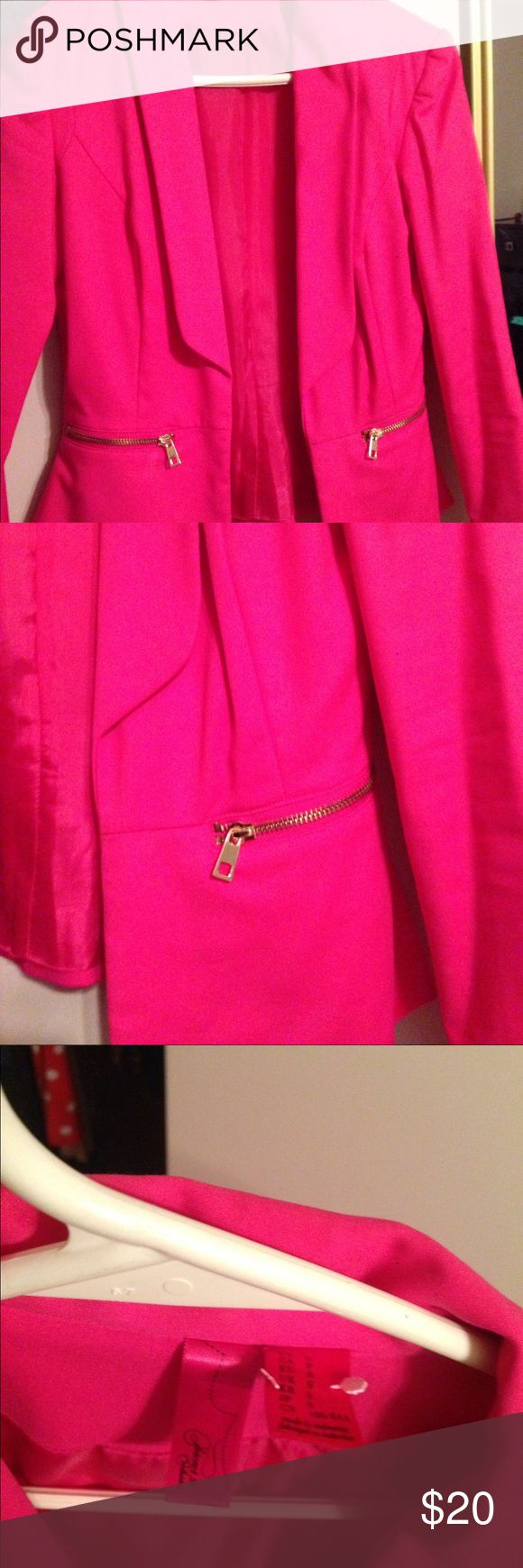 Hot pink blazer Beautiful hot pink blazer perfect for the spring summer season coming up . The zippers on the side are gold . Size is S from forever 21 Forever 21 Jackets & Coats Blazers