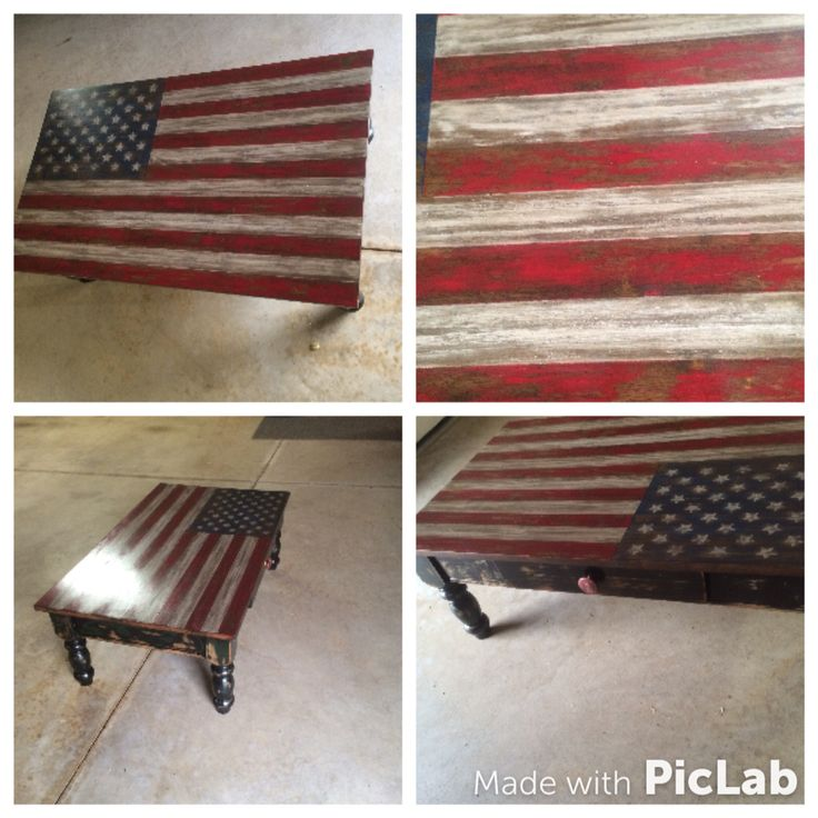 Distressed American Flag Coffee Table