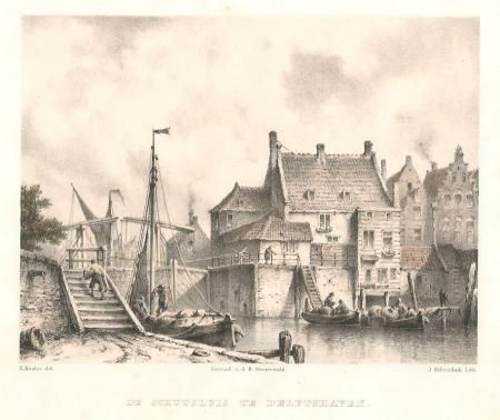 DE SCHUTSLUIS TE DELFSHAVEN. Litho, uitgegeven in 1858 te 's-Gravenhage door de steendrukker Jan Dam Steuerwald. De litho werd vervaardigd door J. Hilverdink naar een tekening van E. Koster. Hoogte 17,8 cm.; breedte 20,6 cm.