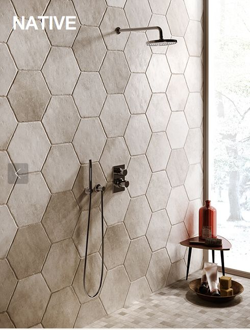 IVORY NATIVE porcelain hexagons for floor or wall tiling from Natural Tile, Sugar Rd, Maroochydore.  www.naturaltile.com.au
