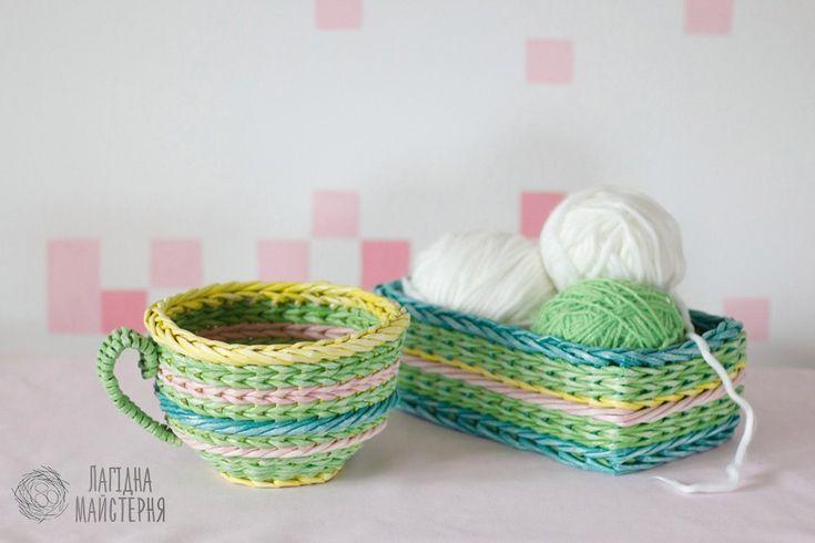 Чашка-конфетница и небольшой короб (плетение из бумажной лозы, газет, бумажных трубочек, basket weaving, paper, spring color, green, yellow, зеленый, желтый, весенние цвета)