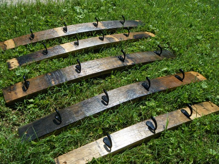 Rustic Bourbon Barrel Stave Coat Racks. These are from a Maker's Mark Barrel.