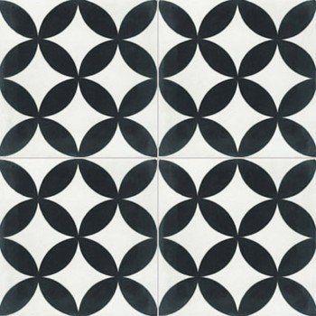 Carreau de ciment sol et mur blanc et noir Palmette l.20 x L.20 cm | Leroy Merlin
