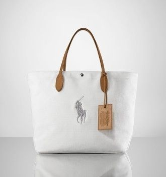Canvas and Leather City Tote In White $66.68. Ralph Lauren ...