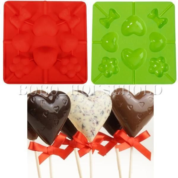 Lollipop Heart Bowknot Bow Mould Cake Chocolate Lolly Pop Baking Candy Ice Mold