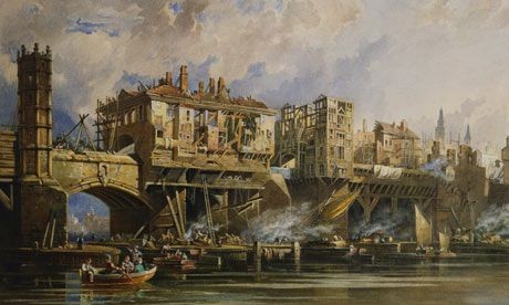 Taking Down the Houses of Old London Bridge by George Pyne 1831