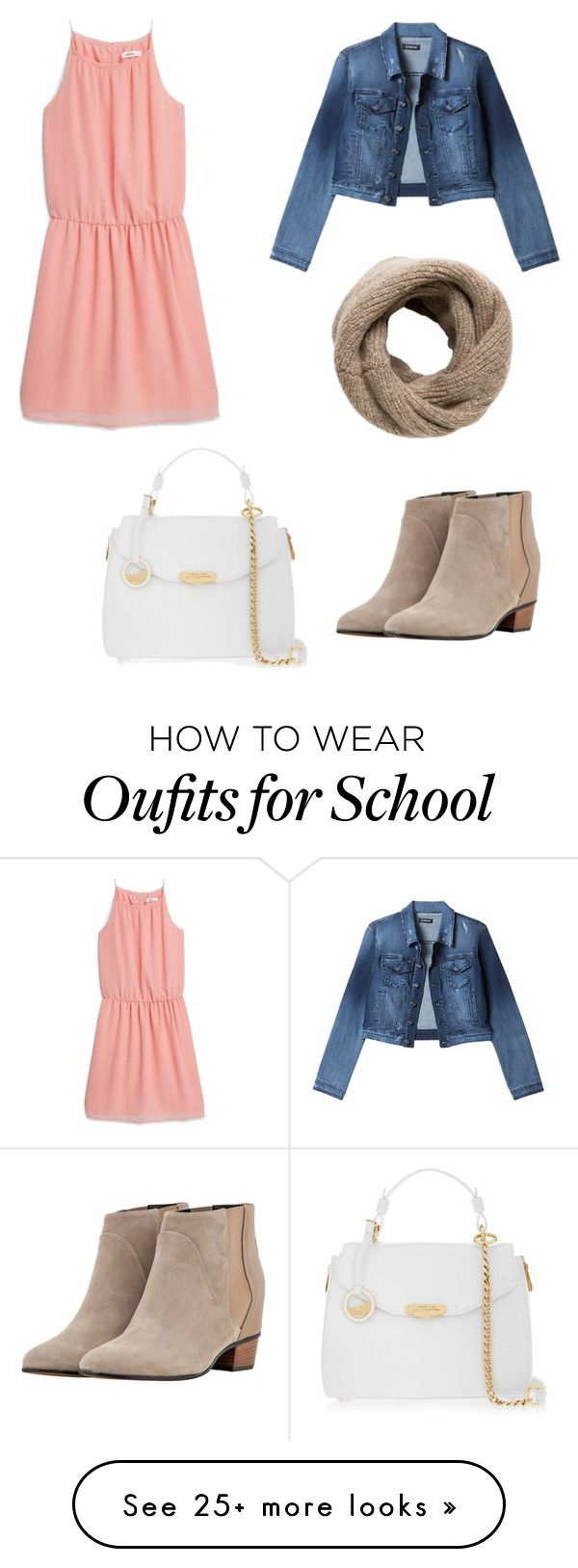 """McKenna back to school outfit"" by ssarbearxo on Polyvore featuring MANGO, Bebe, Augusta and Versace."