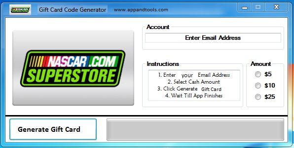 NASCAR Superstore Gift Card Generator