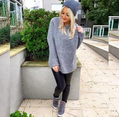 tricô cinza + calça preta