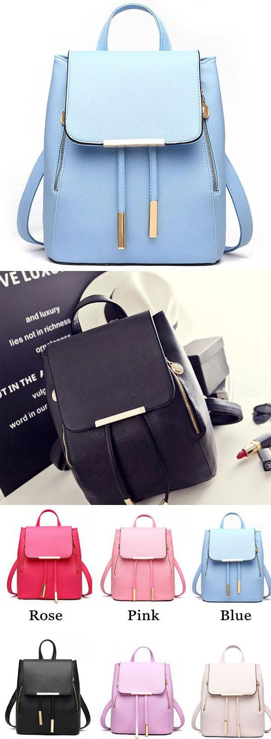 Fashion Black Solid Simple Square PU Drawstring Hasp Satchel Backpack for big sale! #backpack #Bag #square #pu #solid #fashion
