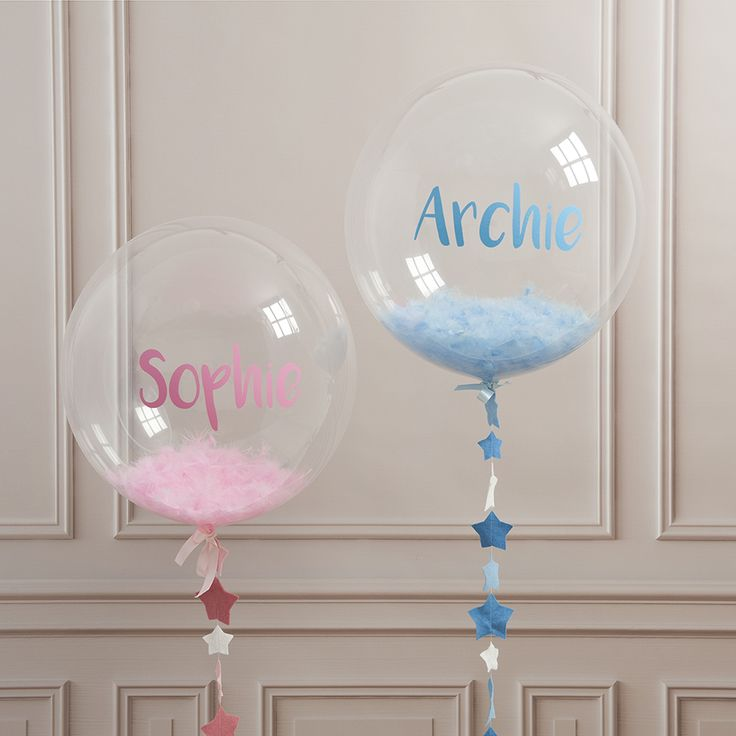Personalised New Baby Feather Balloon