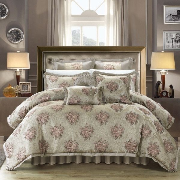 chic home zanotti taupe jacquard luxury comforter set and pillows ensemble