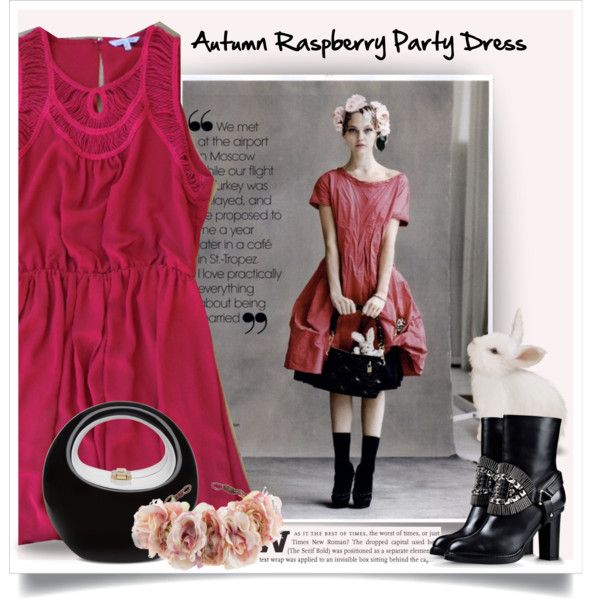 Autunit Raspberry Party Dress ( Contest with prizes sponsored by www.deloom.com ) by ewa-naukowicz-wojcik on Polyvore featuring Alberta Ferretti, Rock 'N Rose and lovedeloom