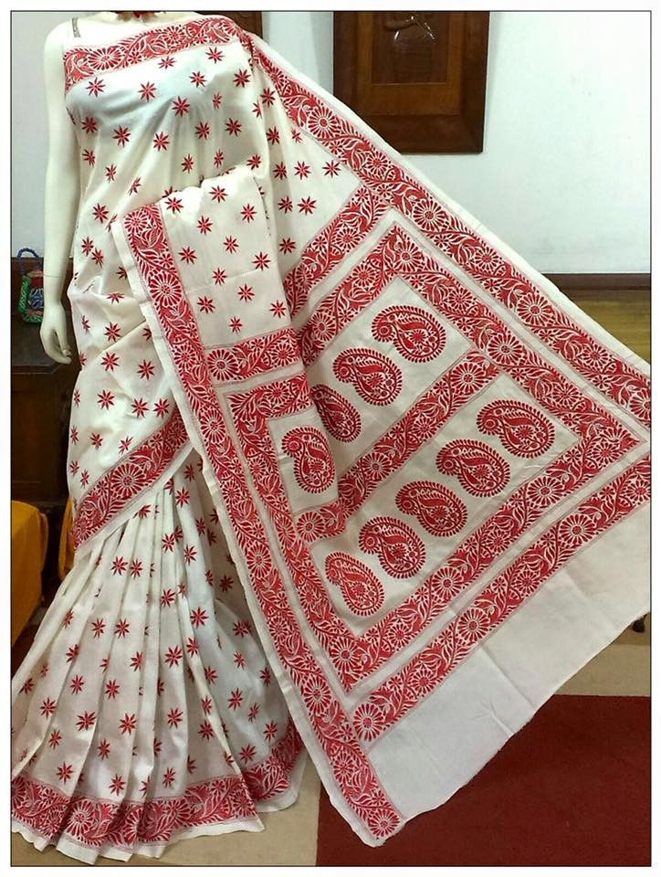 Look #traditional and classy in this #Kantha #Stitch #Saree on pure #Bangalore #Silk with Unstitched #Blouse Piece only at www.shopbollywear.com