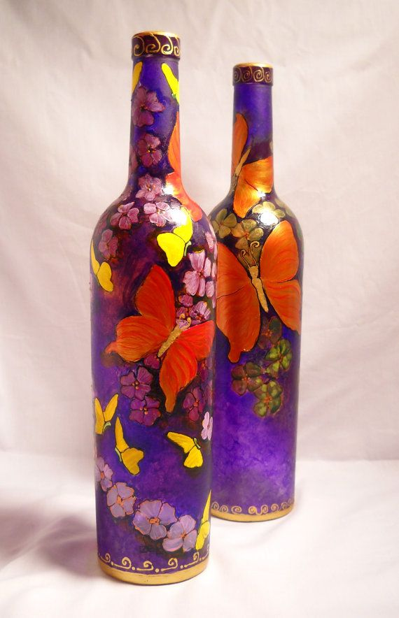 Amethyst Bottle Art Glass Vase Painted Pair with Butterflies