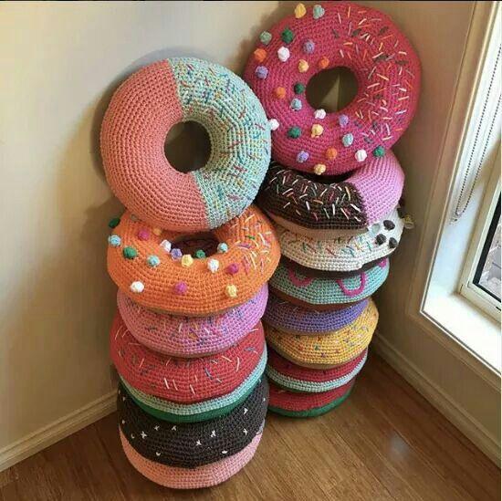 Crochet donut cushions