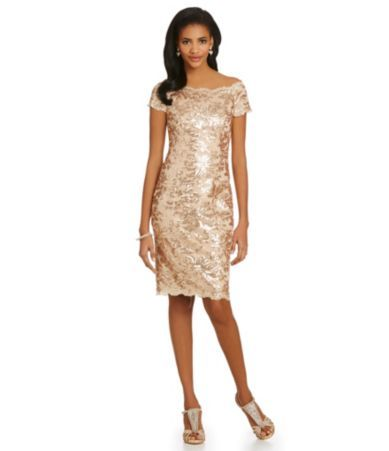 Js Collections Sequined Lace Off The Shoulder Sheath Dress