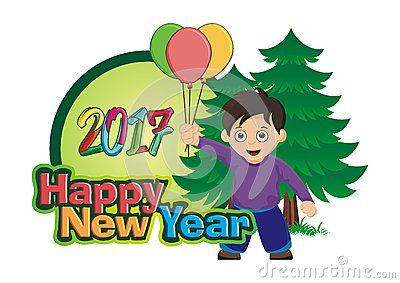 2017 Happy New Year kid boy with balloon, pine tree and happy new year font
