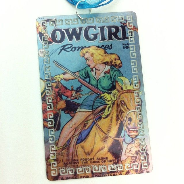 """Vintage Comic Cover Necklace by I Heart Gallery """"Cowgirl Romance""""  Vintage public domain comic book cover hand printed on metal and made into a necklace."""