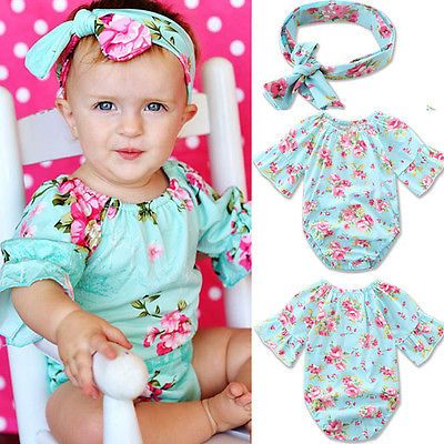 b5ed8b72ab5 Summer 2017 Newborn Infant Baby Girl Clothes Floral Romper Jumpsuit  Headband Outfits Sunsuit Clothes. Click visit to buy