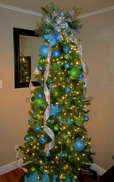 Turquoise & lime green Christmas tree