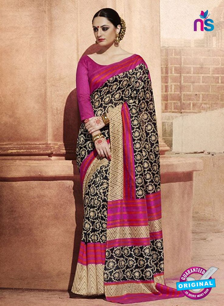 NS11825 Dark Magenta and Black Bhagalpuri Silk Saree