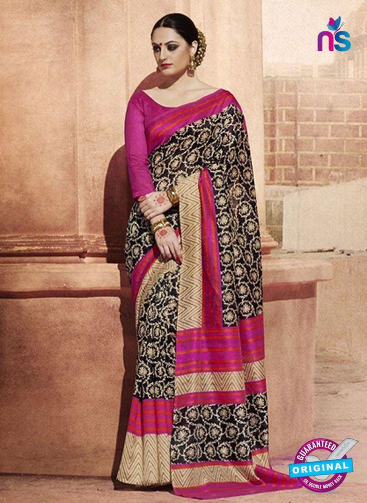 NS11825 Dark Magenta and Black Bhagalpuri Silk Saree
