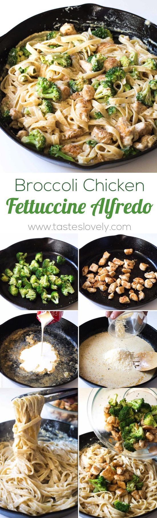Broccoli Chicken Fettuccine Alfredo - 30 minute 1 skillet dinner