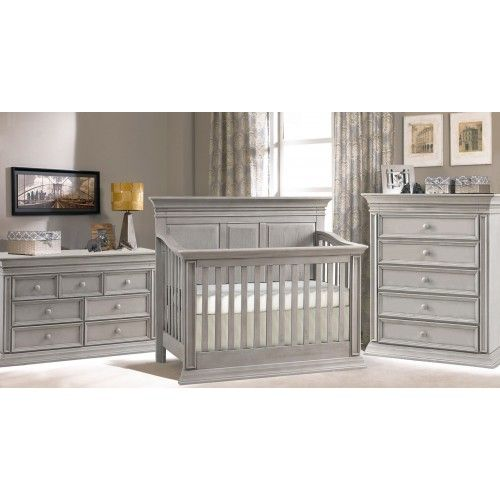 Baby Chic Venice 4-in-1 Convertible Crib In Vintage Grey