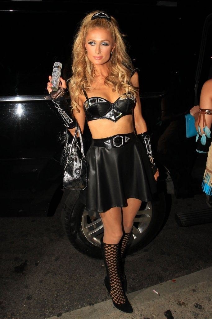 paris hilton stunning in mini leather black skirt and black top attended kylie jenners halloween party in los angeles california on october - Halloween Parties In Hollywood