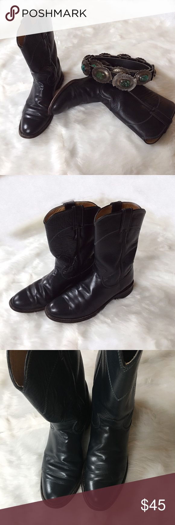 🆕Women's Black Ropers Coachella Season is approaching!!!! Very good condition | Newly conditioned | more creases on one of the boots, but hardly noticeable when worn | Please pay attention to the photos, really a nice pair of boots to add to any wardrobe! Justin Boots Shoes