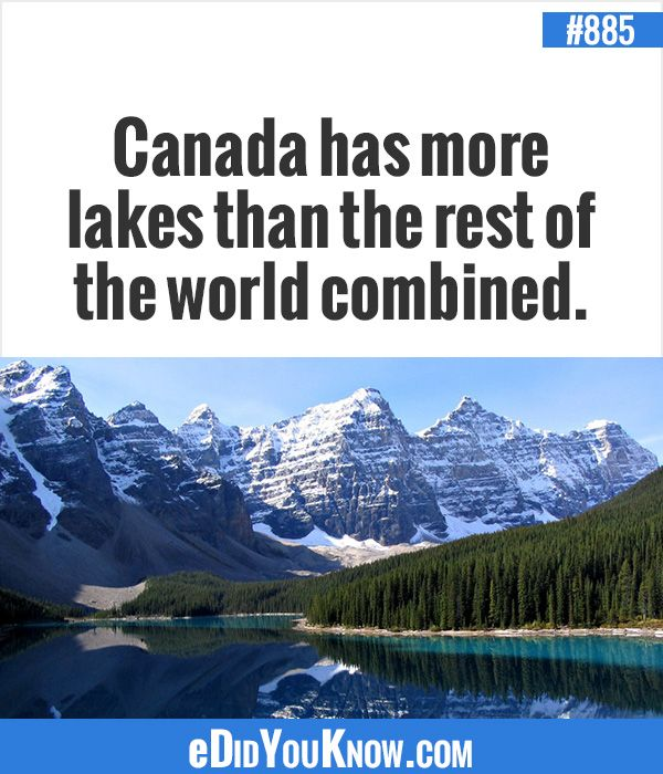 http://edidyouknow.com/did-you-know-885/ Canada has more lakes than the rest of the world combined.