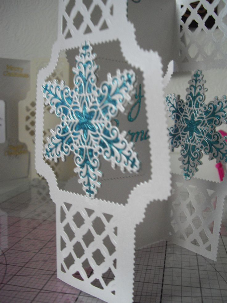 Tattered Lace and Tonic Christmas card. Krystal snowflake and Diamond Trellis Embossing Folder and die set.