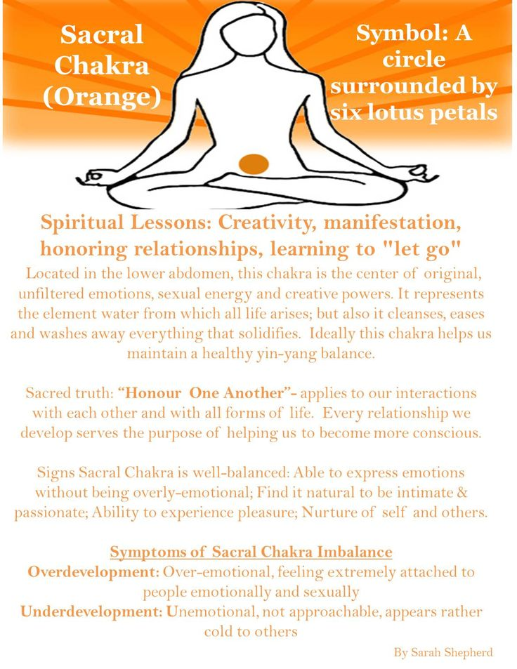 Sacral Chakra: Creativity, manifestation, honoring relationships, learning to let go.