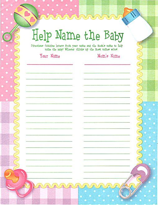 Help Name The Baby Game Pkg Of 24 Game Sheets Baby Shower Name Game