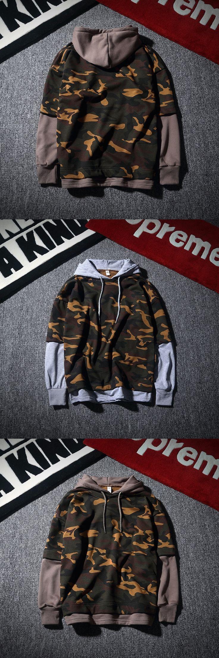 free ship plus size camo print New TOP Fashion Mens Slim false 2 pieces Hooded Cardigan Coat men winter coat Jacket anime hoodie