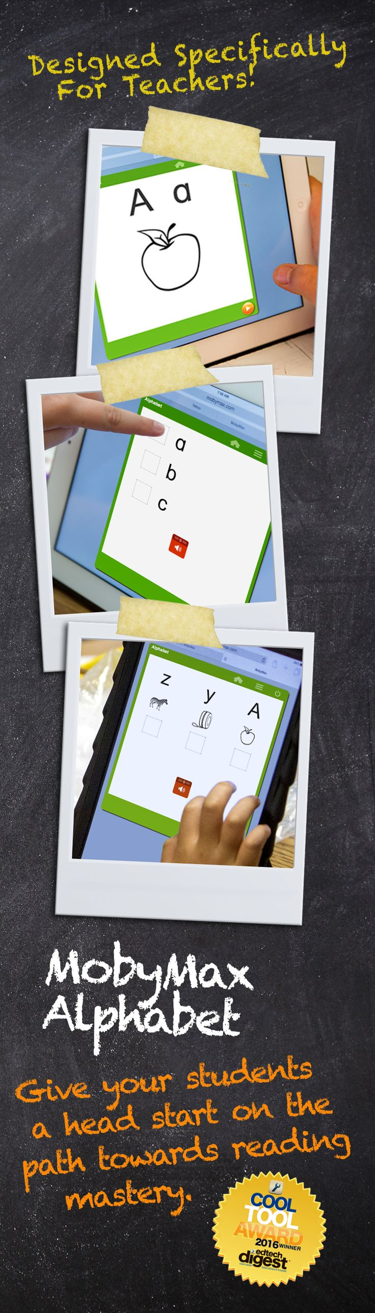 MobyMax Alphabet gives your students a head start on the path towards reading mastery. Using engaging, animated Teach Me lessons and interactive exercises, Moby Alphabet teaches students letter-name recognition for each uppercase and lowercase letter in the English alphabet. MobyMax is a FREE, complete curriculum for all K-8 subjects and specifically designed for teachers.