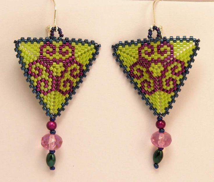 Dangle Earrings – Triangle earrings in green and magenta – a unique product by DarkEyedJewels on DaWanda