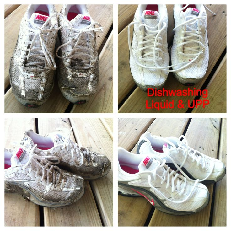 WOW!!!  Wish I knew about this before!  Muddy white tennis shoes. Soaked in Norwex Dishwashing Liquid and Ultra Power Plus detergent.