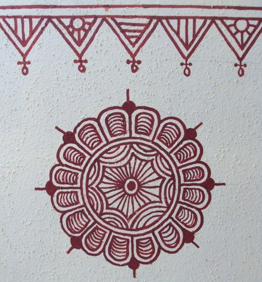 Bheenth Chitra, literally translated as wall drawings is a type of wall art in India. The motifs are large, clear and very distinct. Brush strokes are thick and fairly linear. This unique wall art uses a beautiful mix of geometrical and ethnic motifs